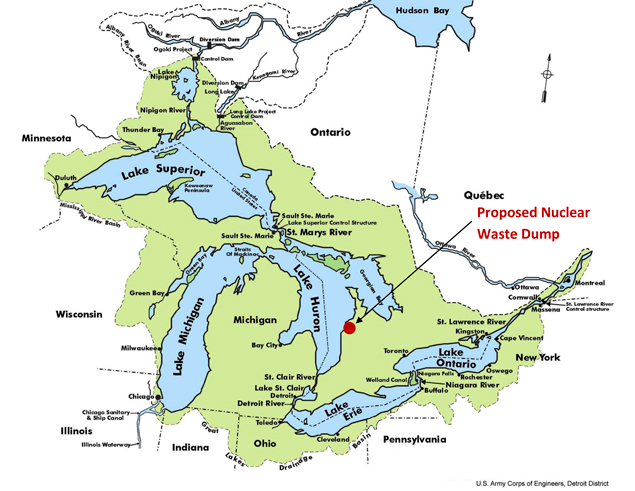 Great Lakes Map Showing Planned Nuclear Waste Dump Site - St lawrence river on us map